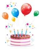 Vector del globo de la torta de la fiesta de cumpleaños fotos de archivo libres de regalías