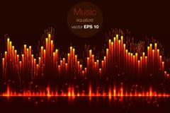 Vector del golpe de la música Enciende el fondo Equalizador abstracto Onda acústica Tecnología audio del equalizador Bokeh detall ilustración del vector