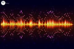 Vector del golpe de la música Fondo de las luces verdes Equalizador abstracto Onda acústica Tecnología audio del equalizador Boke ilustración del vector