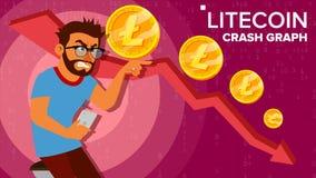 Vector del gráfico del desplome de Litecoin Inversor sorprendido Comercio del intercambio del crecimiento negativo Hundimiento de stock de ilustración