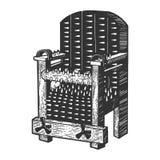 Vector del grabado del bosquejo del dispositivo de la tortura de la silla del hierro stock de ilustración