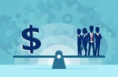 Vector del grupo de recursos humanos o de dinero de los empresarios en la escala stock de ilustración