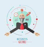 Vector del gurú de negocio con los iconos Imagen de archivo libre de regalías