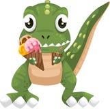 vector del helado de la consumición del dinosaurio ilustración del vector