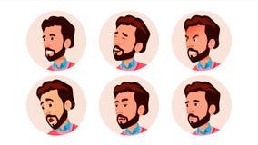 Vector del hombre del icono de Avatar Arte cómico de la cara Trabajador alegre Ejemplo del personaje de dibujos animados ilustración del vector