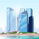 Vector del horizonte del paisaje urbano de la opinión del rascacielos de la ciudad Fotos de archivo