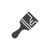 Vector del icono de la brocha, muestra plana llenada, pictograma sólido aislado en blanco Imagen de archivo libre de regalías