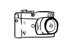 Vector del icono de la cámara con estilo del garabato Foto de archivo