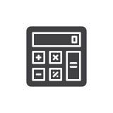 Vector del icono de la calculadora, muestra plana llenada, pictograma sólido aislado en blanco Imagen de archivo libre de regalías