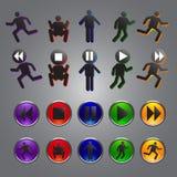 Vector del icono del botón del jugador Fotos de archivo