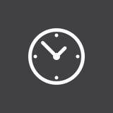 Vector del icono del reloj aislado en negro Imágenes de archivo libres de regalías