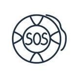 Vector del icono el SOS aislado en el fondo blanco, muestra el SOS ilustración del vector