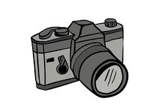Vector del icono del garabato de la cámara con el fondo blanco Fotos de archivo libres de regalías