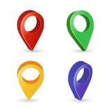 vector del indicador del mapa 3d Sistema colorido de marcadores modernos del mapa Fondo blanco de Symbol Isolated On del navegado Foto de archivo libre de regalías