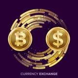 Vector del intercambio de dinero de la moneda de Digitaces Bitcoin, dólar Fintech Blockchain Monedas de oro con la corriente de D ilustración del vector