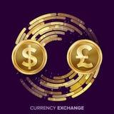 Vector del intercambio de moneda del dinero Dólar, GBP Monedas de oro con la corriente de Digitaces Operación comercial de la con ilustración del vector