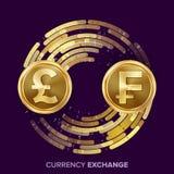 Vector del intercambio de moneda del dinero GBP, franco Monedas de oro con la corriente de Digitaces Operación comercial de la co ilustración del vector