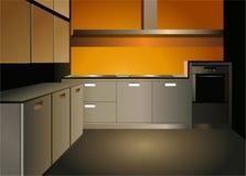 Vector del interior de la cocina de Brown stock de ilustración