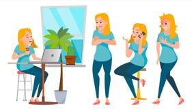Vector del juego de caracteres de la mujer de negocios Trabajadores fijados Muchacha Boss In Action Oficina, estudio creativo Neg Fotos de archivo