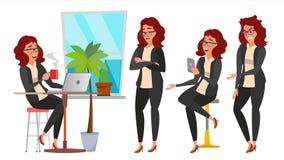 Vector del juego de caracteres de la mujer de negocios Trabajadores de las actitudes fijadas Muchacha Boss In Action Estudio crea Imagenes de archivo