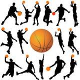 Vector del jugador de básquet y de la bola stock de ilustración