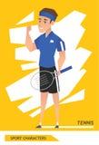 Vector del jugador de tenis de los caracteres del deporte Imagen de archivo libre de regalías