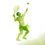 Vector del jugador de tenis del Watercolour Imagen de archivo libre de regalías