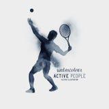Vector del jugador de tenis del Watercolour Imagen de archivo
