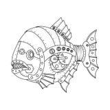 Vector del libro de colorear de los pescados de la piraña del estilo de Steampunk ilustración del vector