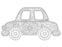 Vector del libro de colorear del coche del juguete del bebé para los adultos Imágenes de archivo libres de regalías