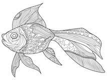 Vector del libro de colorear del pez de colores para los adultos Imagen de archivo libre de regalías