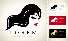 Vector del logotipo de la cara y del pelo de la mujer stock de ilustración
