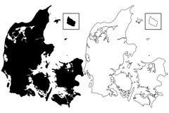 Vector del mapa de Dinamarca Imágenes de archivo libres de regalías