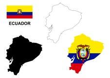 Vector del mapa de Ecuador, vector de la bandera de Ecuador, Ecuador aislado Fotografía de archivo
