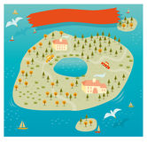 Vector del mapa de la isla Fotografía de archivo libre de regalías