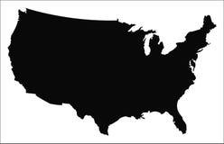 Vector del mapa de los E.E.U.U. fotos de archivo