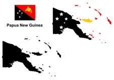 Vector del mapa de Papúa Nueva Guinea, vector de la bandera de Papúa Nueva Guinea, Papúa Nueva Guinea aislada Fotografía de archivo libre de regalías