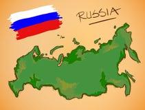 Vector del mapa de Rusia y de la bandera nacional Imágenes de archivo libres de regalías