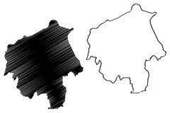 Vector del mapa del estado de Oyo stock de ilustración