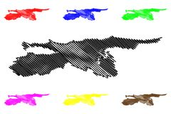 Vector del mapa del estado de Sucre stock de ilustración