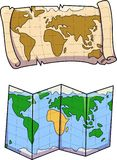 Vector del mapa viejo y nuevo coloreado imagenes de archivo