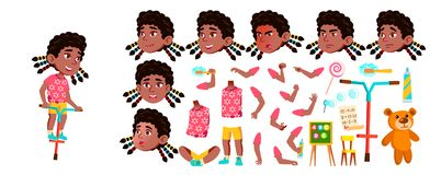Vector del niño de la guardería de la muchacha negro Afroamericano Sistema de la creación de la animación Emociones de la cara, g libre illustration