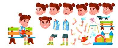 Vector del niño de la guardería de la muchacha Sistema de la creación de la animación Emociones de la cara, gestos Pequeños niños stock de ilustración