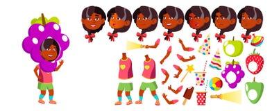 Vector del niño de la guardería de la muchacha Sistema de la creación de la animación Emociones de la cara, gestos pre-entrenamie stock de ilustración
