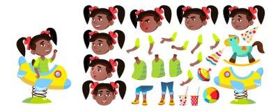 Vector del niño de la guardería de la muchacha Sistema de la creación de la animación negro Afroamericano Emociones, gestos Expre stock de ilustración