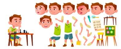 Vector del niño de la guardería del muchacho Sistema de la creación de la animación Emociones de la cara, gestos Expresión caucás ilustración del vector