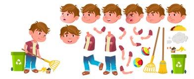 Vector del niño de la guardería del muchacho Sistema de la creación de la animación Emociones de la cara, gestos Preescolar, niñe libre illustration