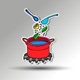 vector del objeto del ejemplo de la comida de la cocina del cazo Imagen de archivo libre de regalías
