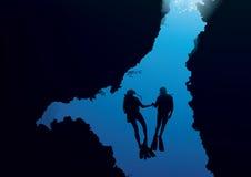 Vector del océano del equipo de submarinismo Fotos de archivo libres de regalías