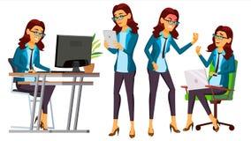 Vector del oficinista Mujer Criado, empleado Vista delantera, lateral actitudes Persona de la mujer de negocios contable Señora ilustración del vector